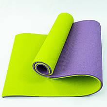 Килимок для йоги, фітнесу та спорту (каремат спортивний) OSPORT Спорт 16мм (FI-0038-1) Фіолетово-салатовий