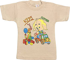 Дитяча футболка на хлопчика ріст 104 3-4 роки для дітей з принтом малюнком гарна трикотажна бежева