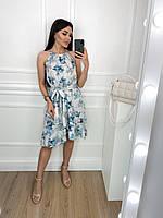 Летнее женское платье-сарафан с воланоми принтом