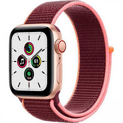 Смарт часы Apple Watch Series SE 40mm LTE Gold Aluminum Case with Plum Sport Loop (MYEJ2/MYEC2)