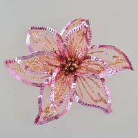 Декоративна прикраса YES! Fun Квітка пуансеттії напівпрозорий рожевий, 23*23см (750310)