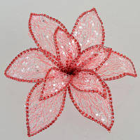 Декоративна прикраса YES! Fun Квітка пуансеттії Північне сяйво червоний, 24*24см (750298)