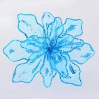 Декоративна прикраса YES! Fun Квітка пуансеттії блакитний напівпрозорий, 28*28см (750287)