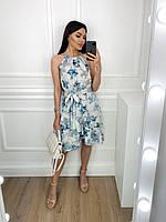Летнее женское платье-сарафан с воланоми принтом L