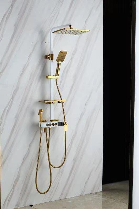 Душова система з термостатом Біло-золотий / Душова стійка з тропічним душем