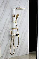 Душевая система с термостатом Бело-золотой / Душевая стойка с тропическим душем