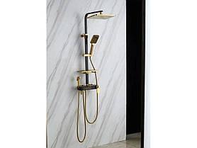 Душевая система с термостатом Черно-золотой / Душевая стойка с тропическим душем