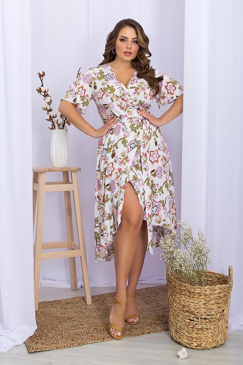 Платье летнее на запах  из штапеля в цветочный принт  Алесия-2Б к/р