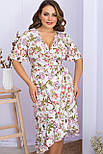 Платье летнее на запах  из штапеля в цветочный принт  Алесия-2Б к/р, фото 2