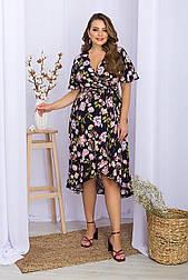 Плаття літнє з штапелю на запах у квітковий принт Алес-2Б к/р