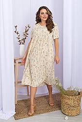 Плаття літнє з софта в квітковий принт із завищеною талією Ірма-Б к/р
