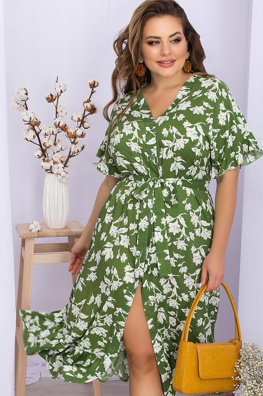 Плаття літнє на запах з віскози у квітковий принт зелене Пейдж-Б к/р