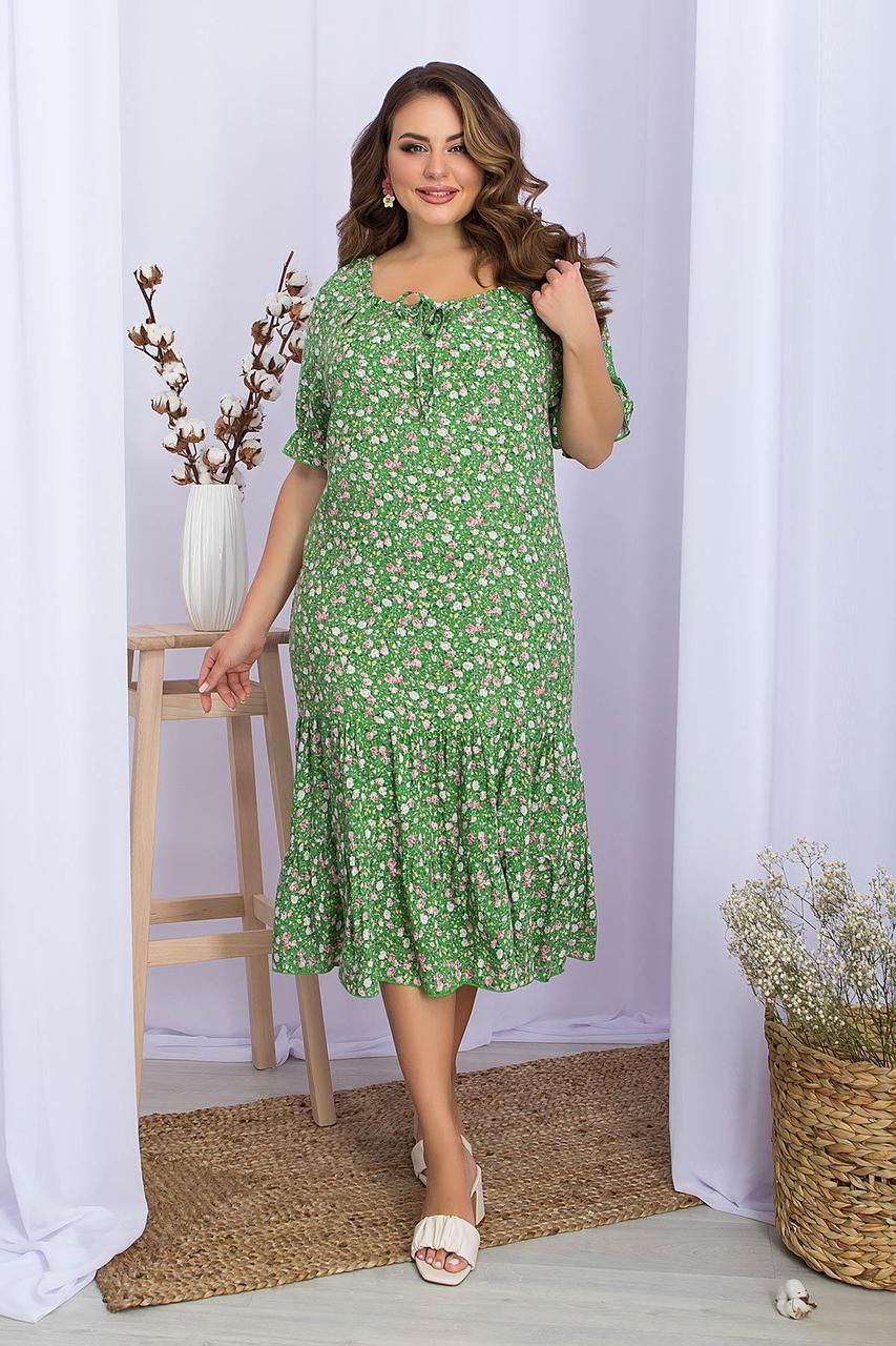 Платье летнее из вискозы с оборкой в цветочный принт  Пилея-Б к/р