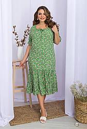 Плаття літнє з віскози з оборкою квітковий принт Пілея-Б к/р