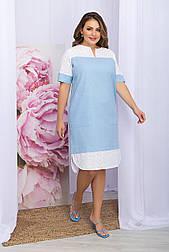 Плаття літнє комбіноване льон з прошвой пряме блакитне Sativa-Б к/р
