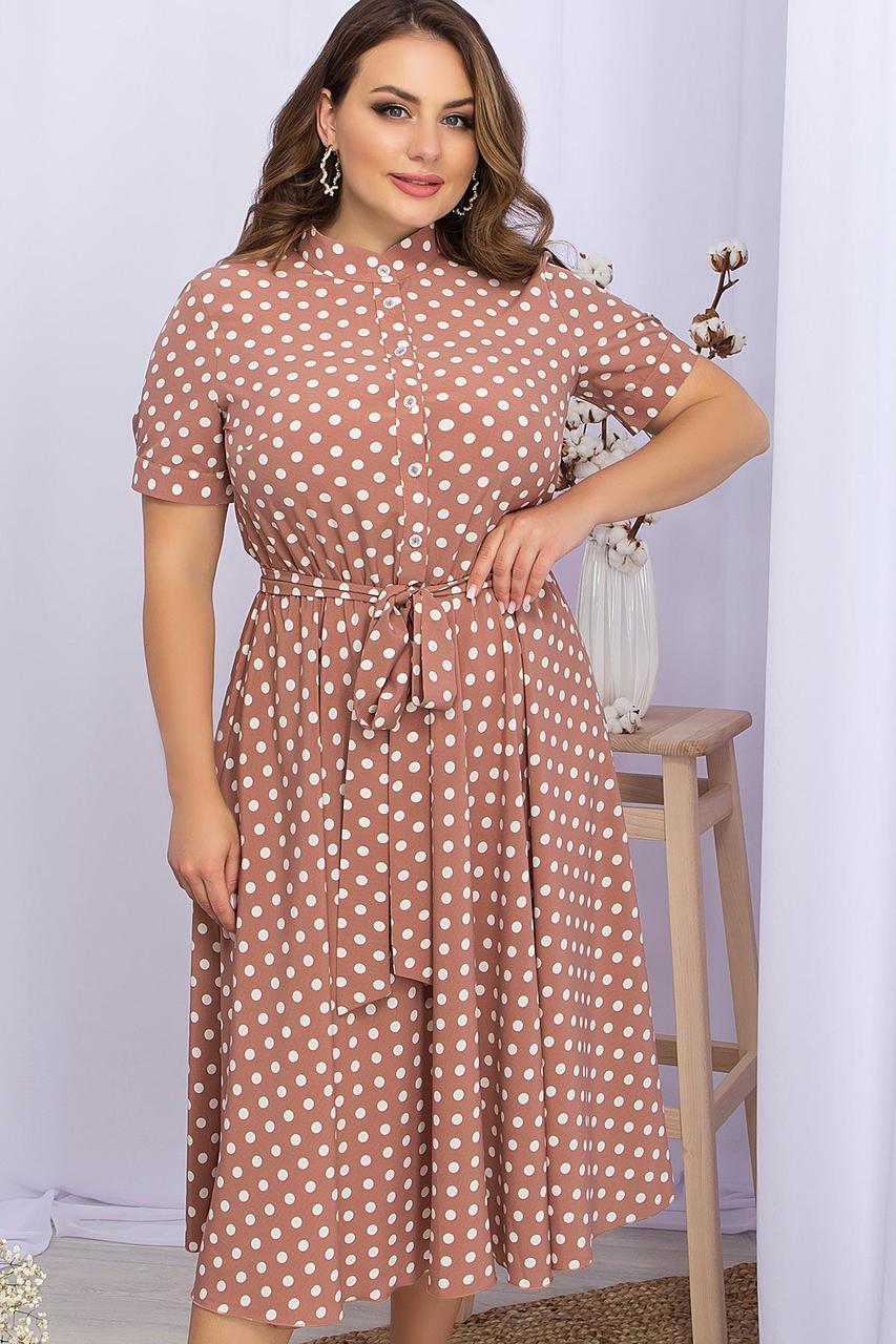 Плаття літнє міді в горошок з софта Ізольда-1Б к/р