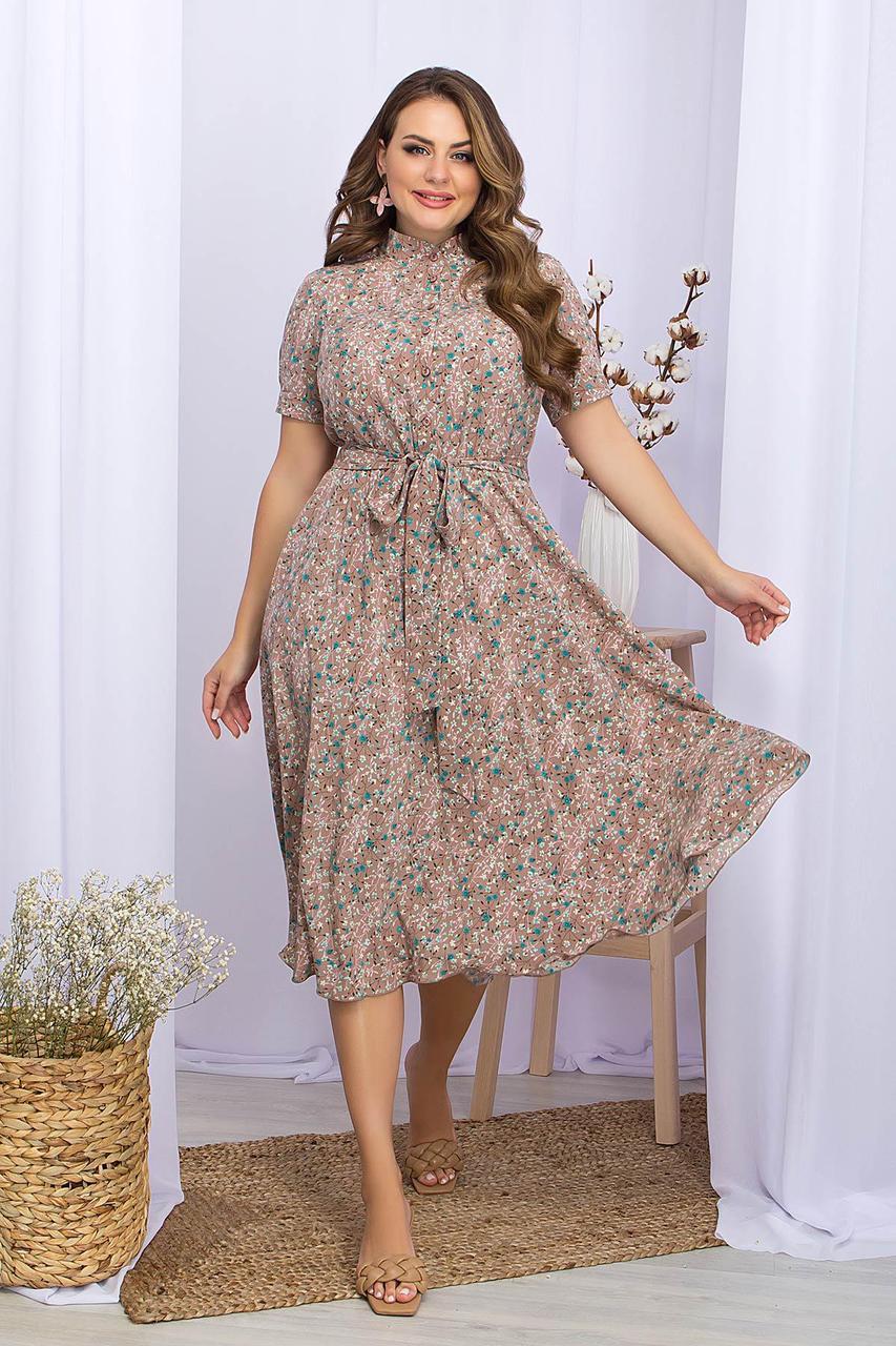 Платье летнее с отрезной юбкой в цветочный принт  Изольда-1Б к/р