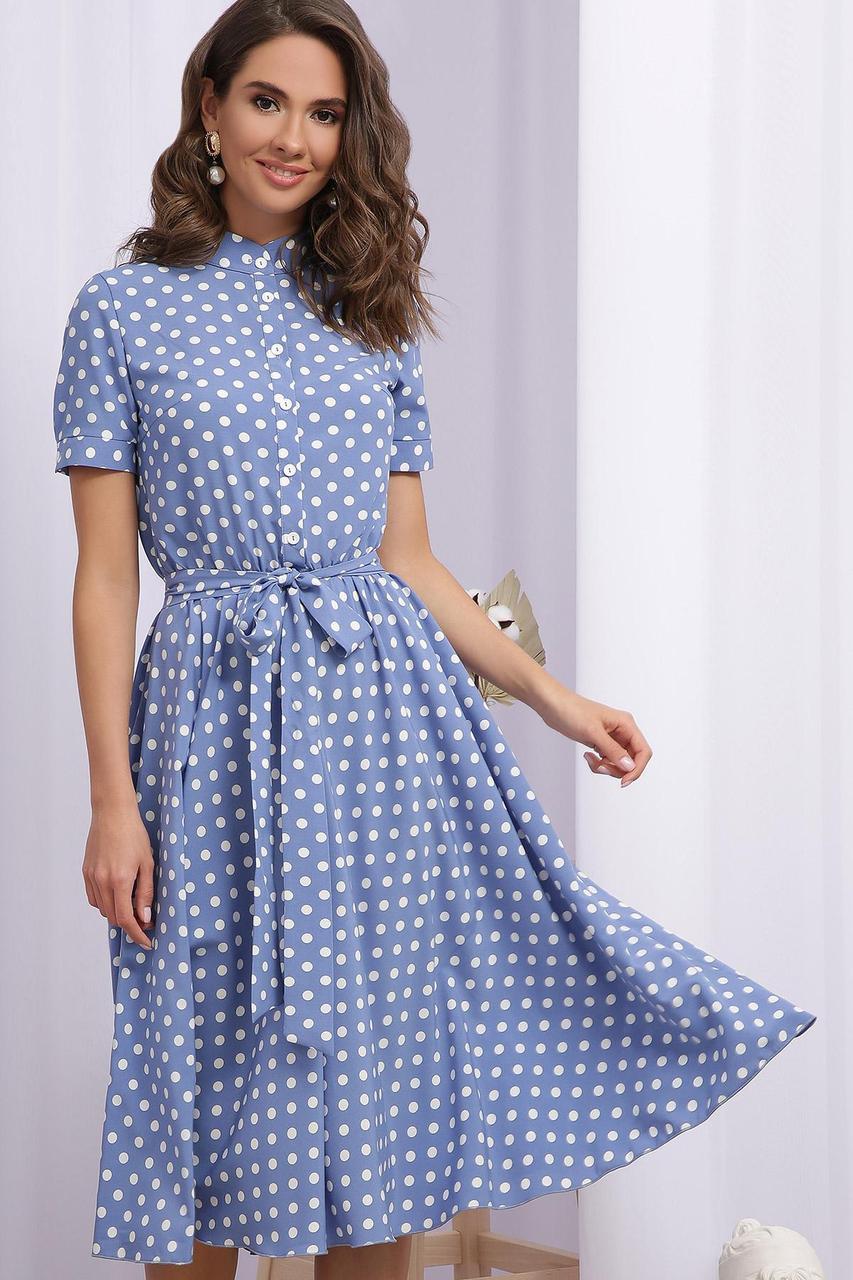 Платье  летнее в горошек с отрезной юбкой  из софта Изольда к/р