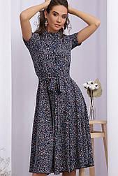 Плаття літнє у квітковий принт з відрізний спідницею з софта Ізольда к/р