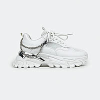 Белые женские кроссовки с перфорацией и цепочкой Fashion X05