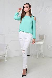 Блузка з відкритими плечима шифонова з довгим рукаво