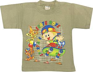 Дитяча футболка на хлопчика ріст 92 1,5-2 роки для малюків з принтом малюнком гарна трикотажна оливкова