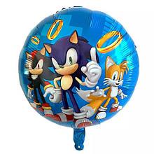 Фольгированный воздушный круглый шар соник бум 45 см.