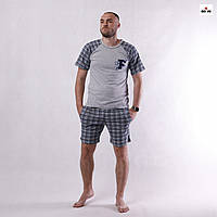 Пижама мужская в клеткуна лето футболка с шортами серая хлопковая больших размеров 44-60р.