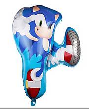 Фольгированный фигурный воздушный шар ежик соник бум в прыжке Soniс мультфильм 75* 65 см