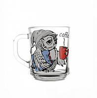 """Кружка 200 мл стеклянная """"coffee time"""" в ассортименте."""