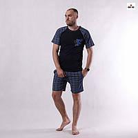Піжама чоловіча літня футболка з шортами в клеткуна бавовняна 44-60р.