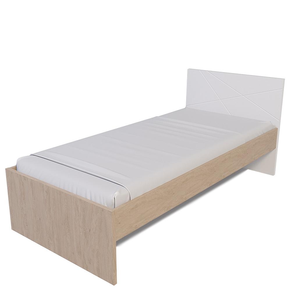 Ліжко Х-Скаут Х-09 (90*200) білий мат/дуб без ламелей