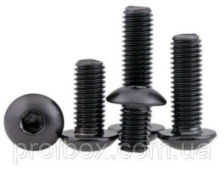 Гвинт чорний М3х10 голівка напівкругла, внутрішній шестигранник (ISO7380)