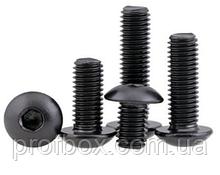 Винт черный М3х10 полукруглая головка, внутренний шестигранник (ISO7380)
