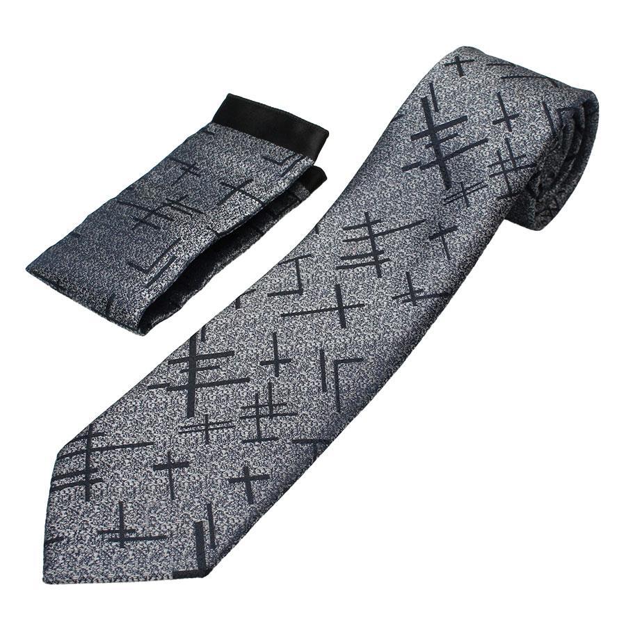 Мужской галстук с платком  Pierre Cavelli CPCompo-grey9 серого цвета