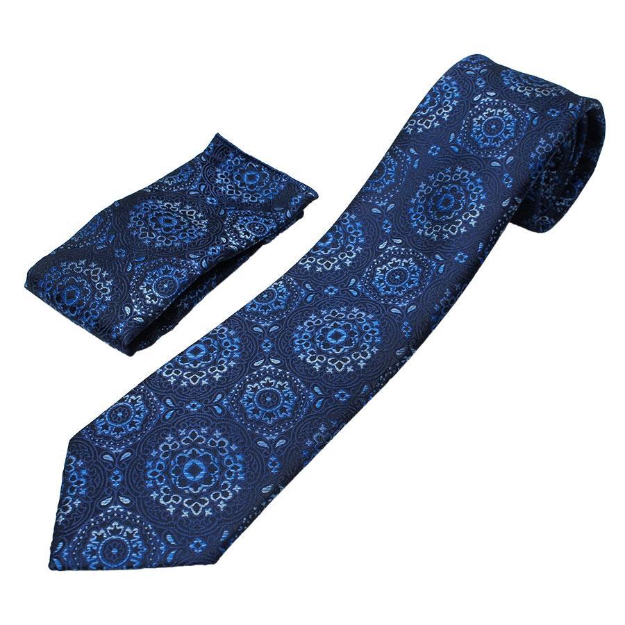 Оригинальный галстук  Pierre Cavelli CPCompo-d-blue7 синего цвета с платком