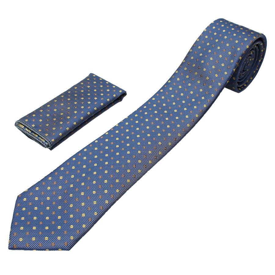 Мужской синий галстук с платком Pierre Cavelli SPCompo-blue1