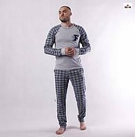 Пижама мужская в клетку хлопковая кофта со штанами летняя серая 44-60р.