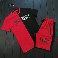 Мужская футболка шорты, спортивный костюм мужской летний черно - красный