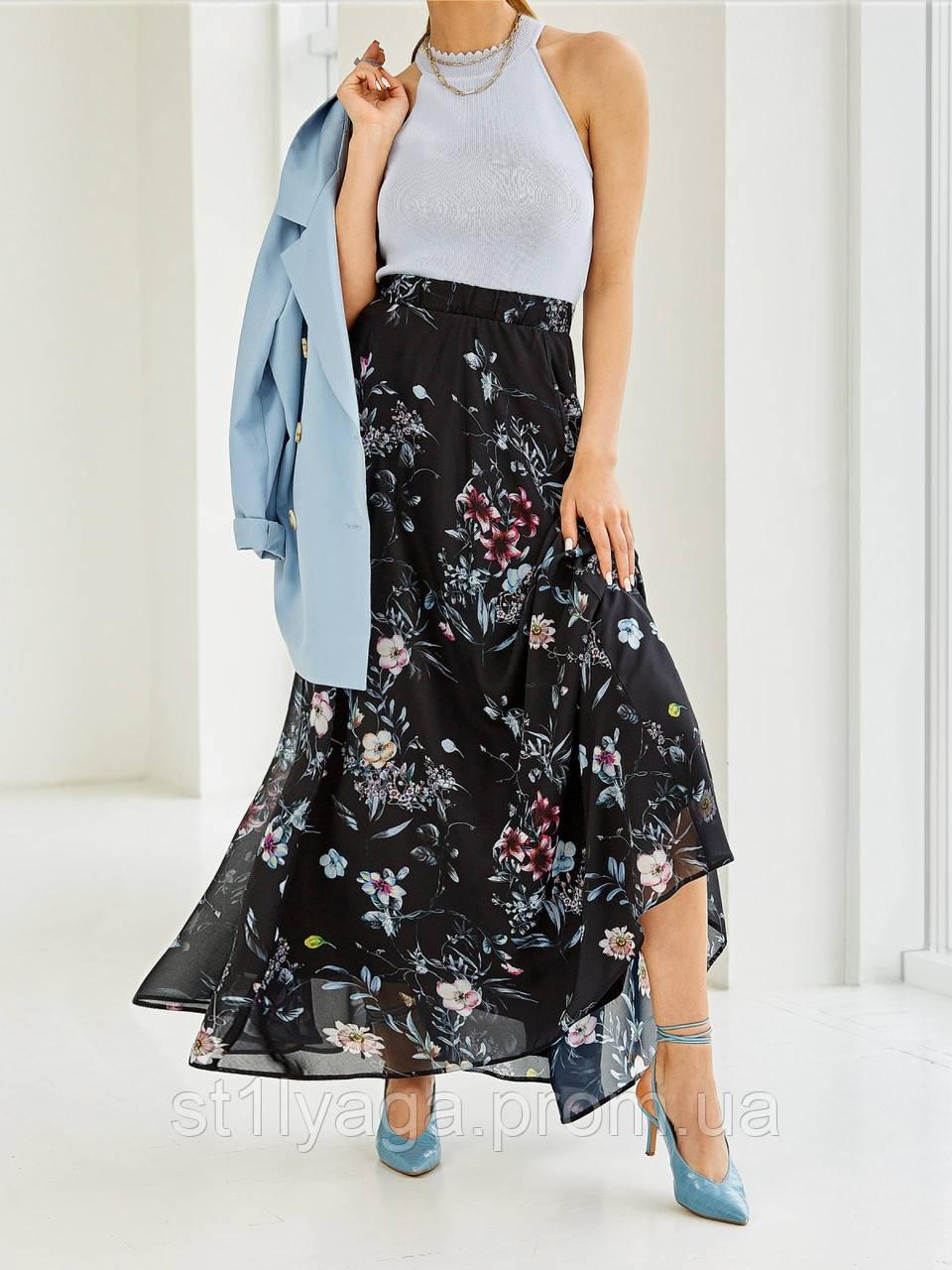 Шифоновая юбка-макси с цветочным принтом  ЛЕТО