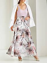 Шифоновая юбка-макси с цветочным принтом  ЛЕТО белый, 48