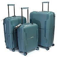 Набор пластиковых чемоданов 3 шт Airtex 245 синий, фото 1
