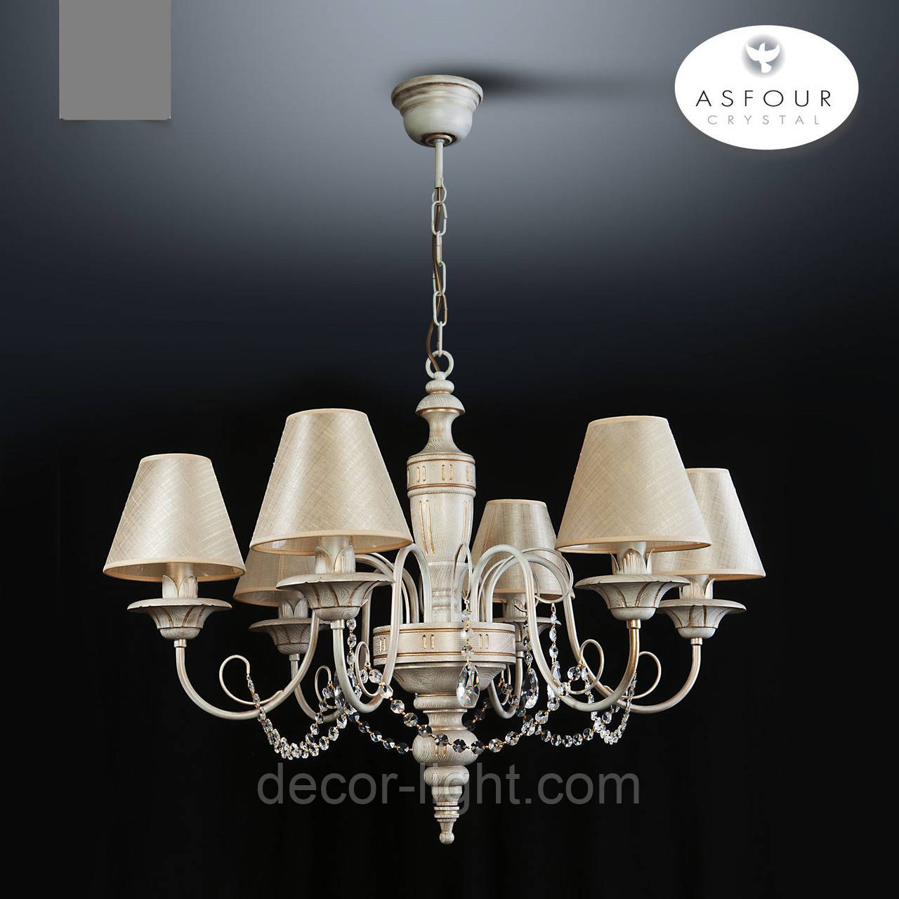 Люстра 6-ти ламповая с хрусталем для спальни, для зала  18006-2