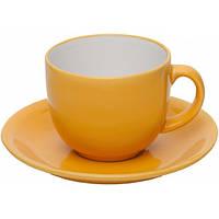 """Чашка с блюдцем, набор керамический желтый """"Альпина"""""""