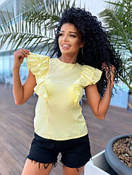 Женская летняя блузка с воланами