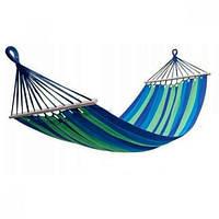 Гамак гавайський підвісний туристичний планкою з 80 см 100*200 синій HA-04
