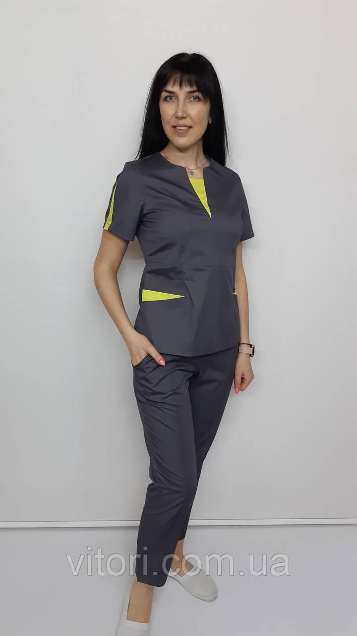 Костюм жіночий медичний Оскар коттон укорочені брюки