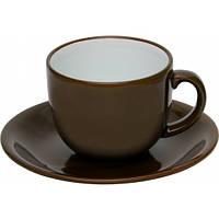 """Чашка с блюдцем, набор керамический коричневый """"Альпина"""""""