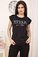 Лёгкая женская футболка с надписью принтом хлопковая женская футболка однотонная женская футболка из хлопка