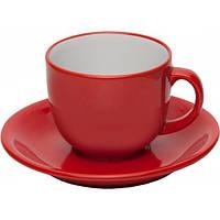 """Чашка с блюдцем, набор керамический красный """"Альпина"""""""